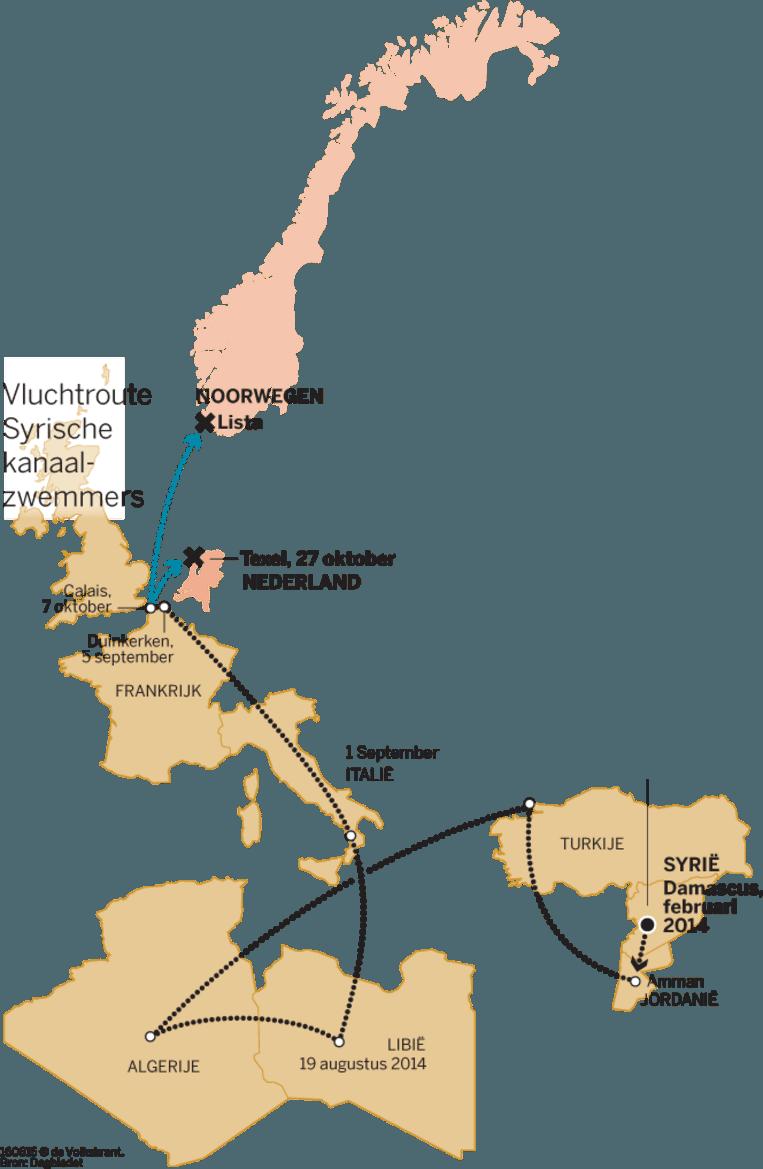 De route van Mouaz Beeld VK