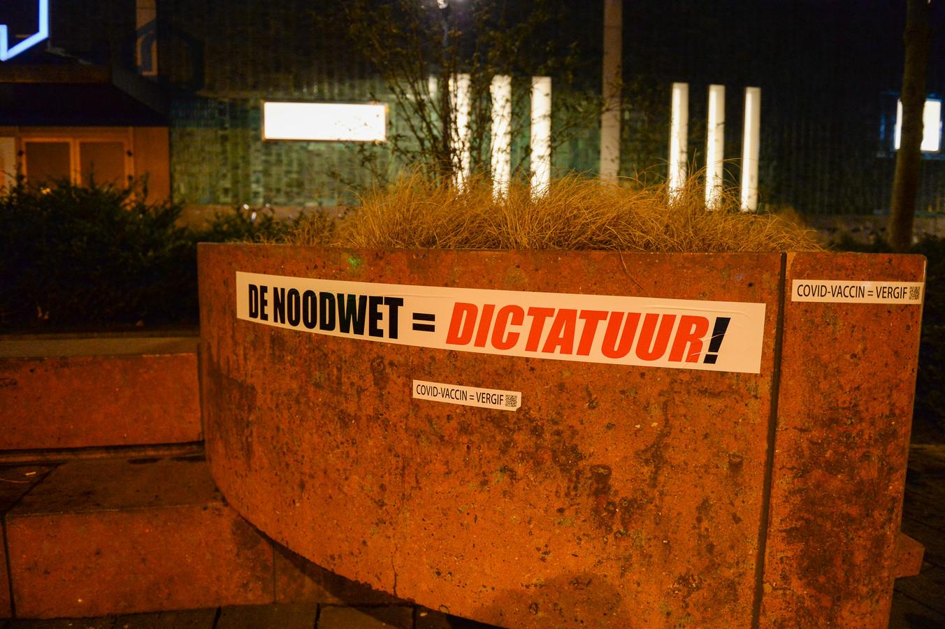 Leuze tijdens de protesten in Eindhoven.