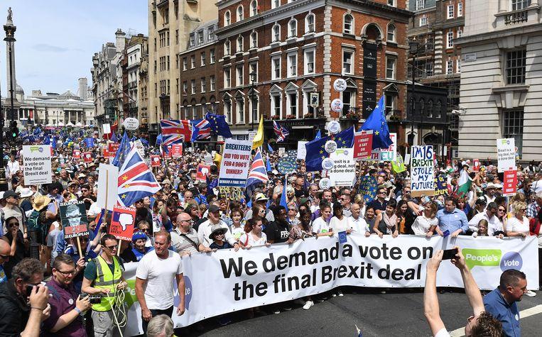 Tienduizenden demonstranten liepen door de straten van Londen tijdens een grote anti-brexitdemonstratie op 23 juni 2018. Beeld EPA