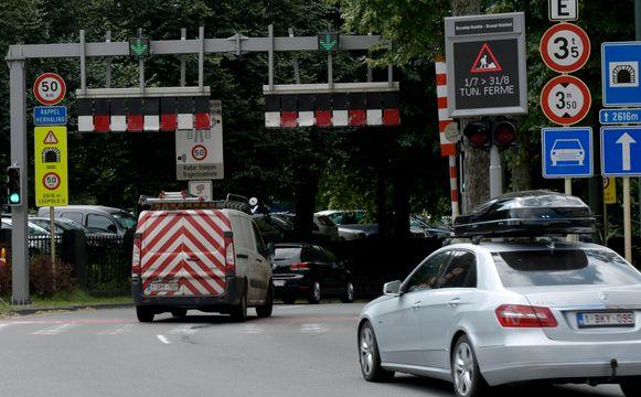 De ingang van de Leopold II-tunnel in Brussel, die nog tot eind augustus dicht is voor renovatie.