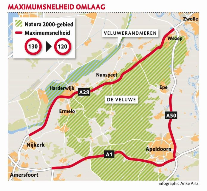 Op deze wegen is de maximumsnelheid verlaagd van 130 naar 120 kilometer per uur