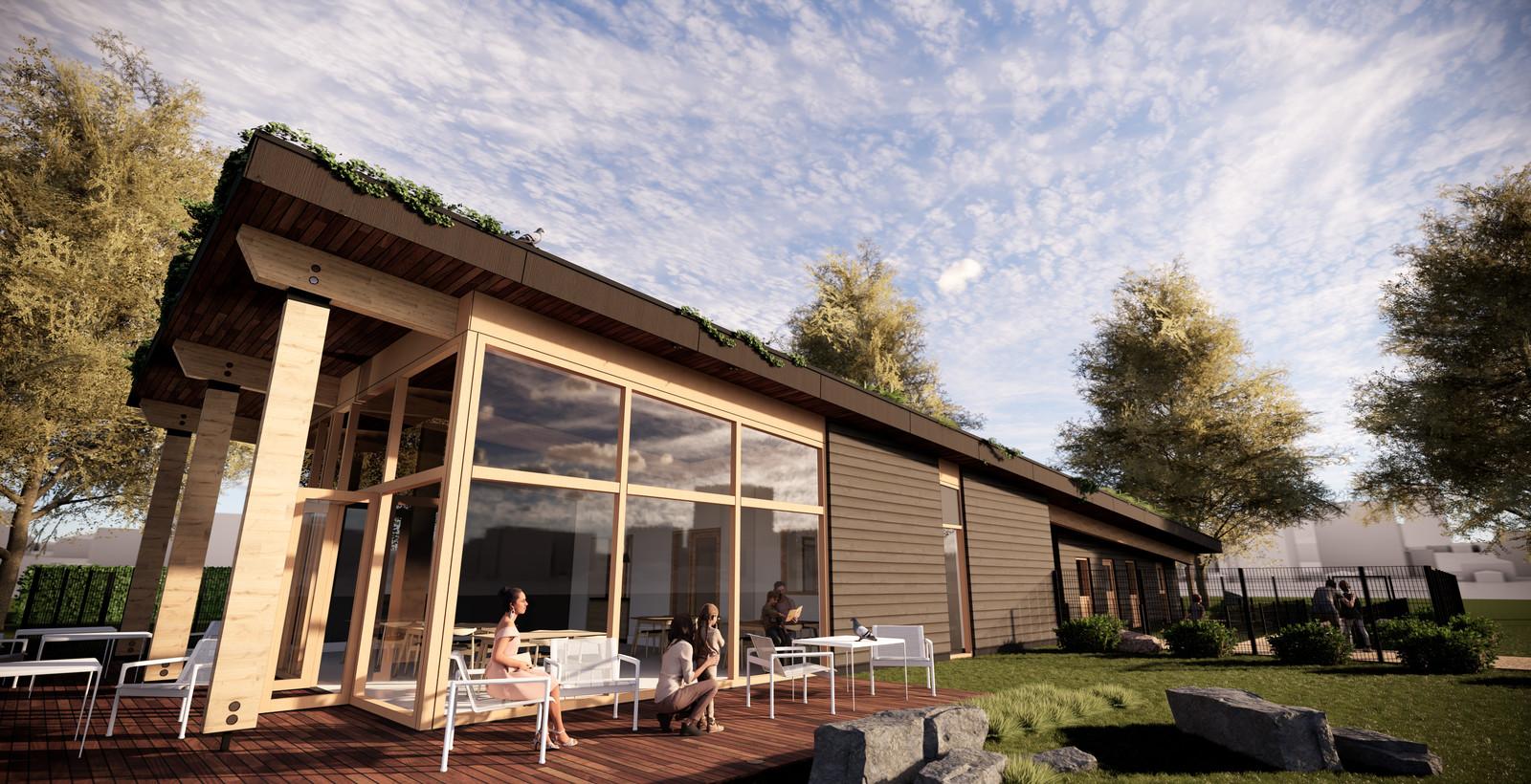 Impressie van de nieuwbouw van natuur- en milieu-educatiecentrum 't Bundertje in Veghel