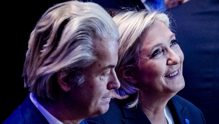 Geert Wilders en Marine Le Pen tijdens een conferentie van rechts-populistische partijen uit het Europees Parlement. Beeld ANP