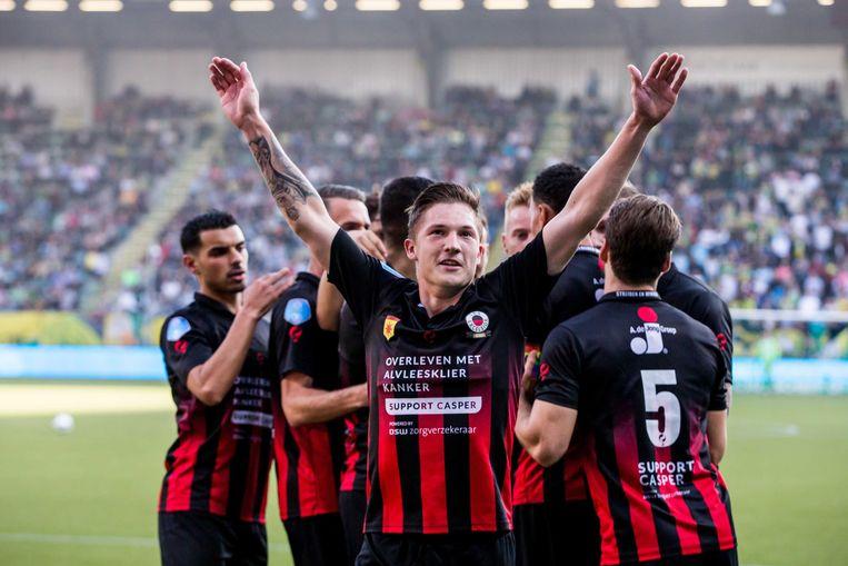 Oostendenaar Jinty Caenepeel scoorde op 15 oktober 2017 de vroege 0-1 in de Eredivisiewedstrijd ADO Den Haag - Excelsior.