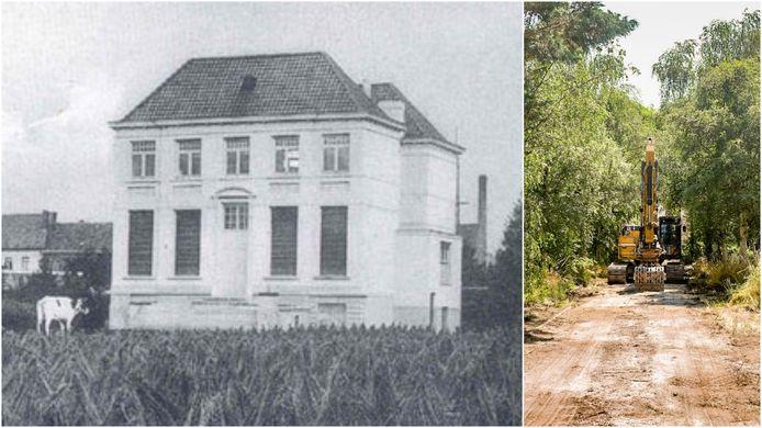 Links een beeld uit de oude doos, rechts de kraan op de dreef naar het gebouw.