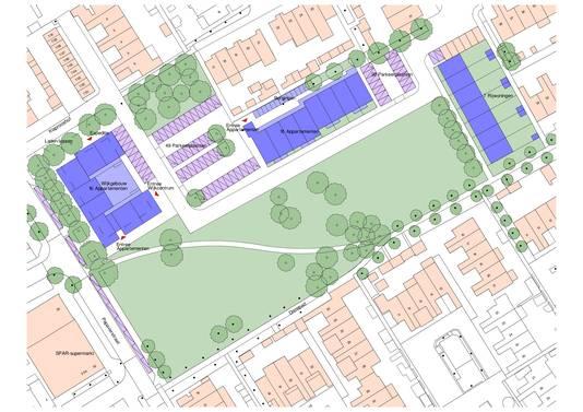 Een schetsplan van de nieuwbouwplannen van Woonmeij en Meierijstad voor de Schijndelse Bloemenwijk. Links het wijkcentrum met 16 huurappartementen. In het midden (paars) het complex met 16 appartementen dat grenst aan Narcishof. En rechts de 7 sociale huurwoningen.