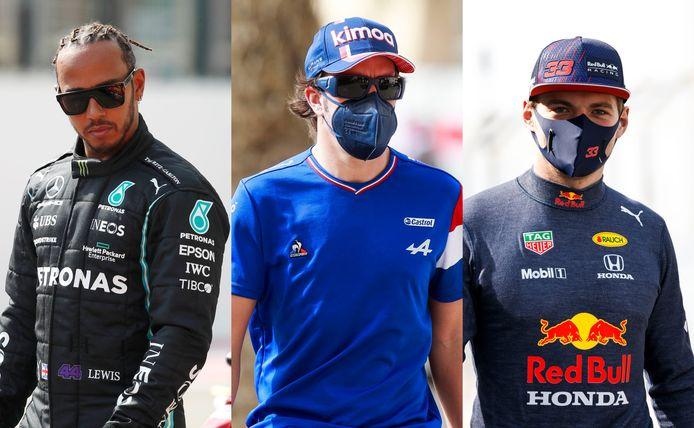 Hamilton, Alonso en Verstappen.