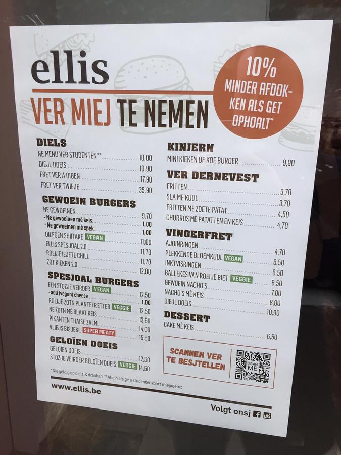 De menukaart van Ellis is voortaan in het Aalsters.