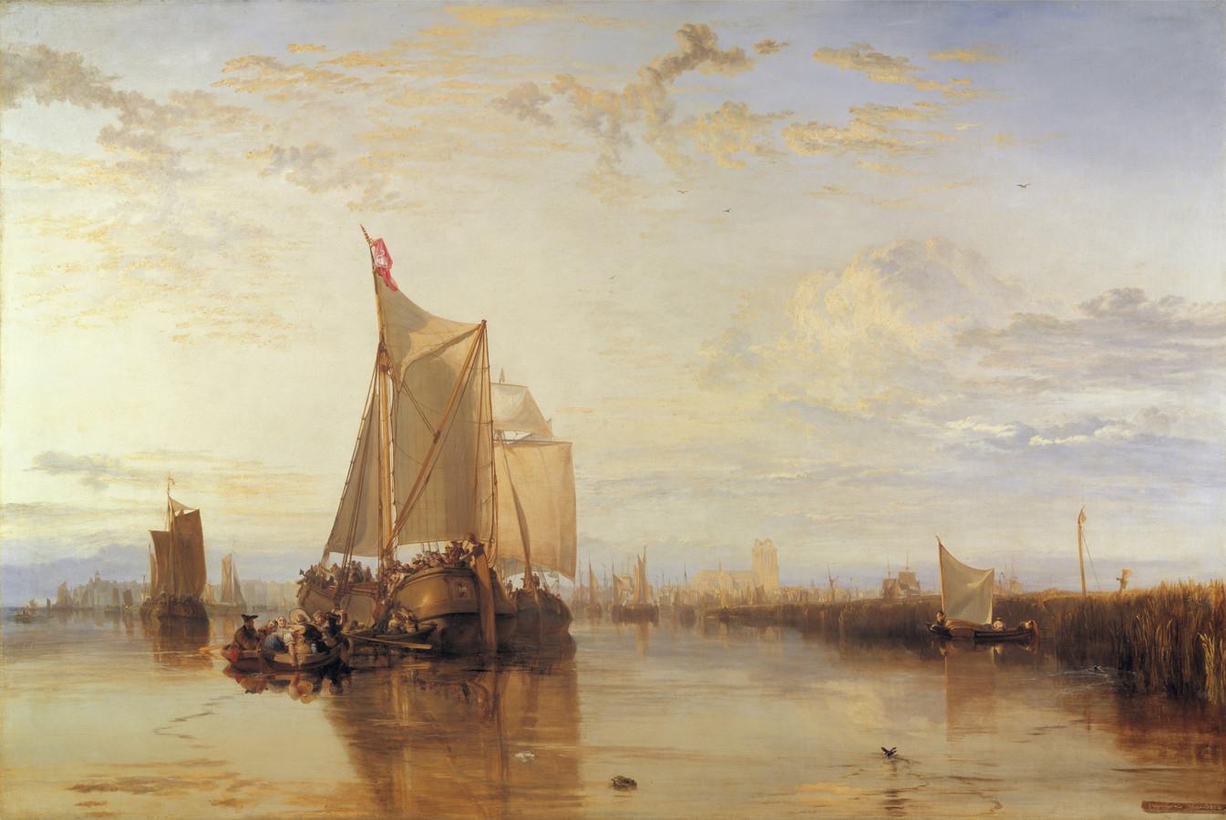 Misschien wel het mooiste schilderij van William Turner: Dort or Dordrecht: The Dort Packet-boat from Rotterdam Becalmed. Op het schilderij markschuit de Zwaan waar Turner ook op voer.