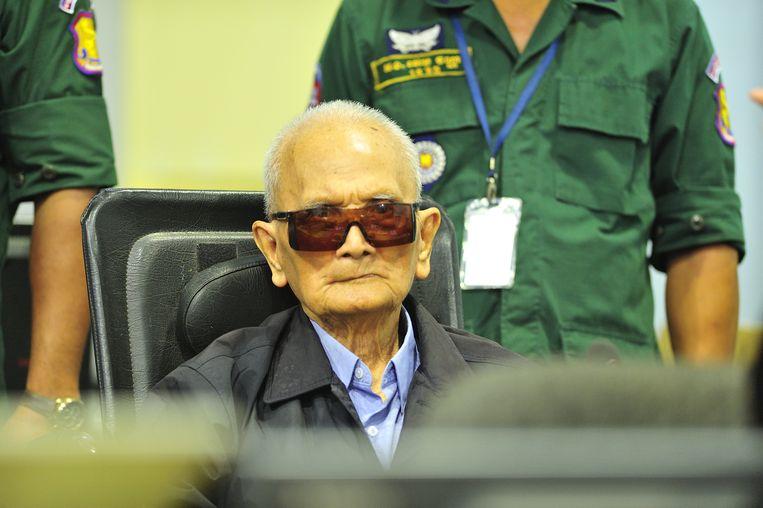 Nuon Chea in de rechtszaal van het Rode Khmer-tribunaal. Beeld REUTERS