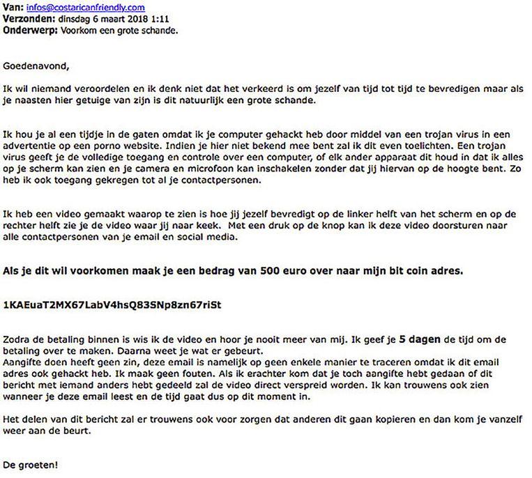 De bewuste mail is wellicht ook naar Vlaamse inboxen gestuurd.