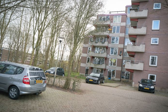 De vernielde auto in Wageningen.