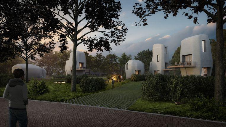 Impressie van de eerste 3D-geprinte woningen die in Meerhoven worden gebouwd. Beeld TU/e