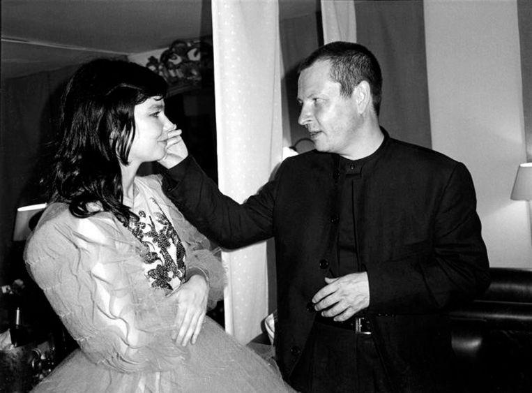 Hoofdrolactrice Björk en regisseur Lars von Trier rond de eeuwwisseling.  Beeld H_and_K - VAN PARYS