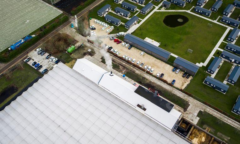Een biomassacentrale (het witte gebouw midden onder) verwarmt de kassen in Egchel. Het complex ligt in de buurt van een woonwijk.  Beeld Freek van den Bergh / de Volkskrant