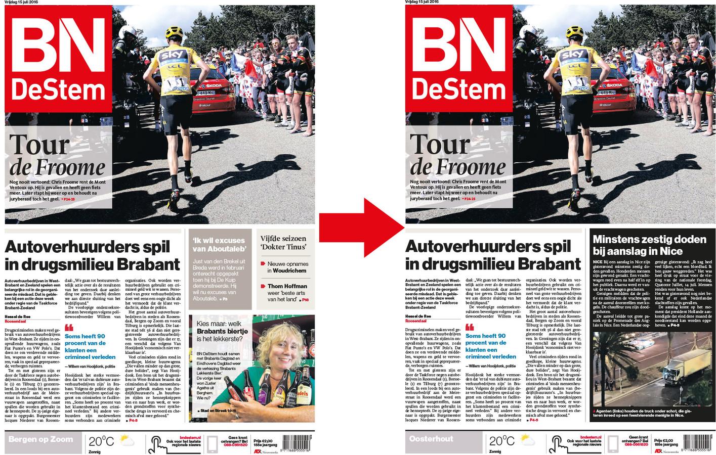 De voorpagina van 15 juli 2016 moest op het allerlaatste moment worden aangepast. De deadline was bijna verstreken, maar voor de laatste edities kon het nieuws over de aanslag in Nice nog prominent mee.