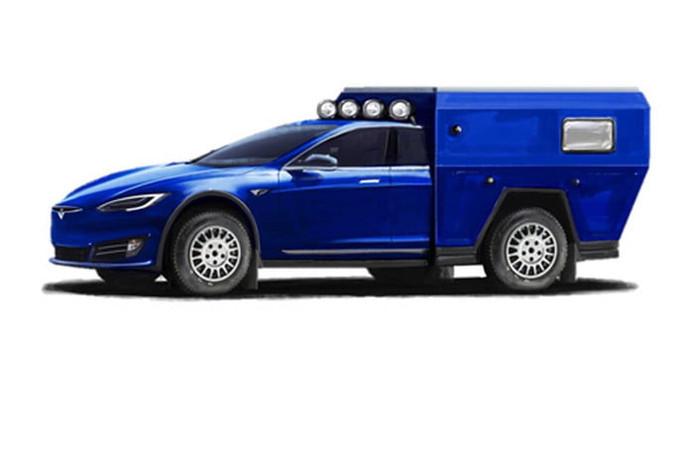 Zo ziet de Tesla kampeerauto eruit als hij de weg opgaat