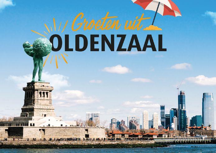 Het Boeskoolmenneke op de plek van het Vrijheidsbeeld in de New York Bay.