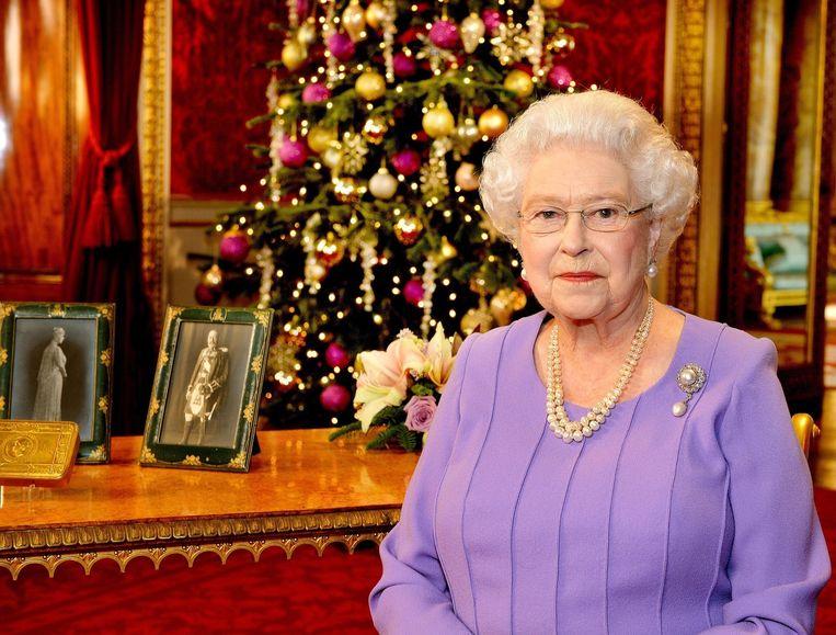 De Britse koninging Elizabeth tijdens haar kersttoespraak. Beeld anp