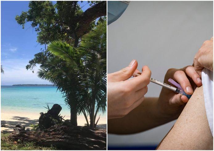 Links: Vanuatu, een coronavrij eiland in de Stille Oceaan waar Enschedeër Alexander woont. Rechts: huisartsen uit Twente krijgen als eerst een coronavaccin.