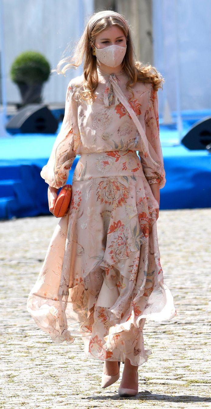 La princesse Elisabeth lors de son arrivée à la place des Palais.