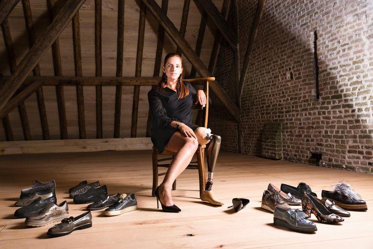 Hilde Goethals tijdens haar fotoshoot voor boetiek BlueSense.
