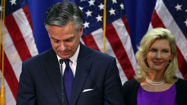 Jon Huntsman en zijn echtgenote Mary Kaye. Beeld AFP
