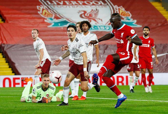 Sadio Mané namens Liverpool in actie tegen Arsenal.