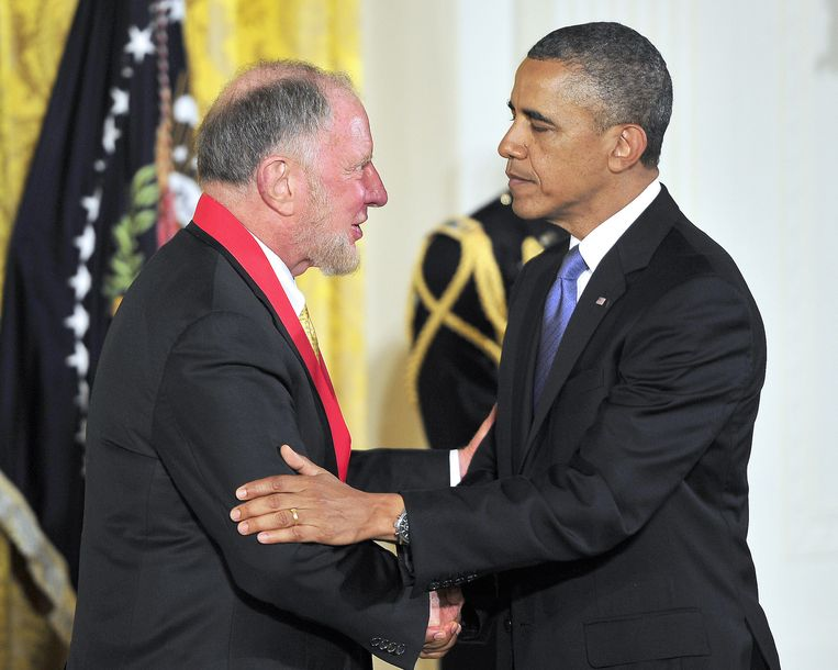Robert Putnam bij president Obama. Beeld BELGA