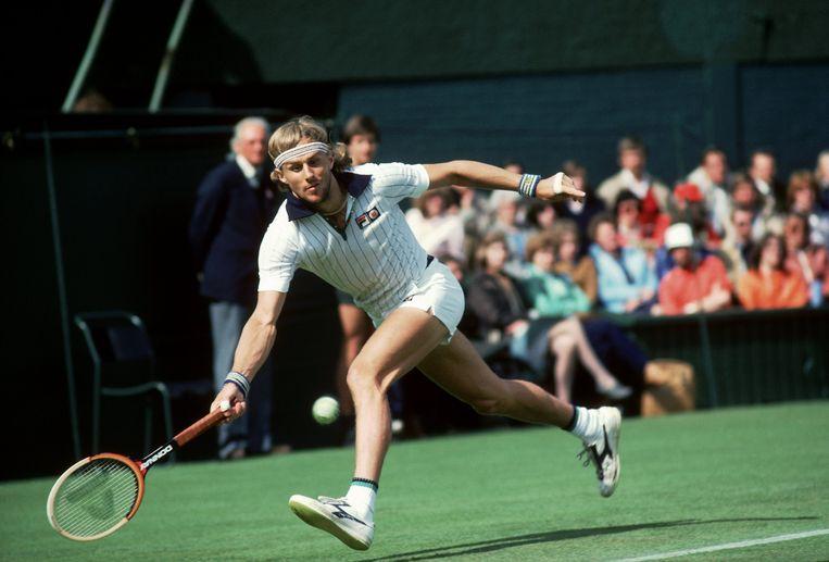 Björn Borg in actie tijdens Wimbledon. Beeld Getty Images
