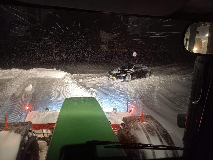Een beeld vanaf de tractor van Arno Roelofs, in de nacht van afgelopen zaterdag op zondag.