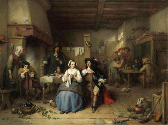 Het schilderij hangt in de lakenhalle van het stadhuis.