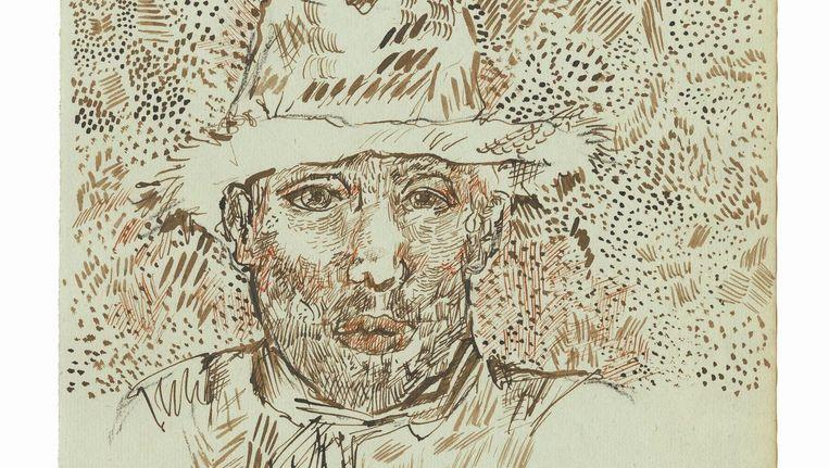 Zelfportret met strohoed Juli of augustus 1888, Arles Beeld éditions du Seuil