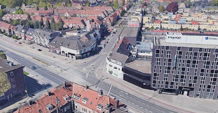 De hoek Marconilaan-Edisonstraat in Woensel-West, Eindhoven. Links wil woningcorporatie Trudo een nieuwbouwproject om de buurt een bijzondere entree te geven.