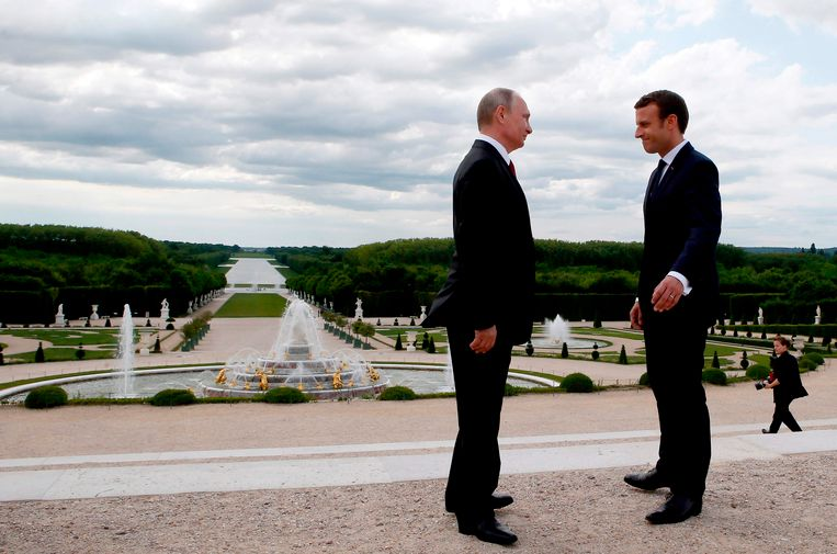Macron ontving in mei Russisch president Poetin al in Versailles.