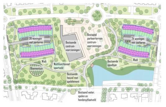 Schets van de indeling van het Sesterpark op Uden-Zuid met in totaal 50 woningen.