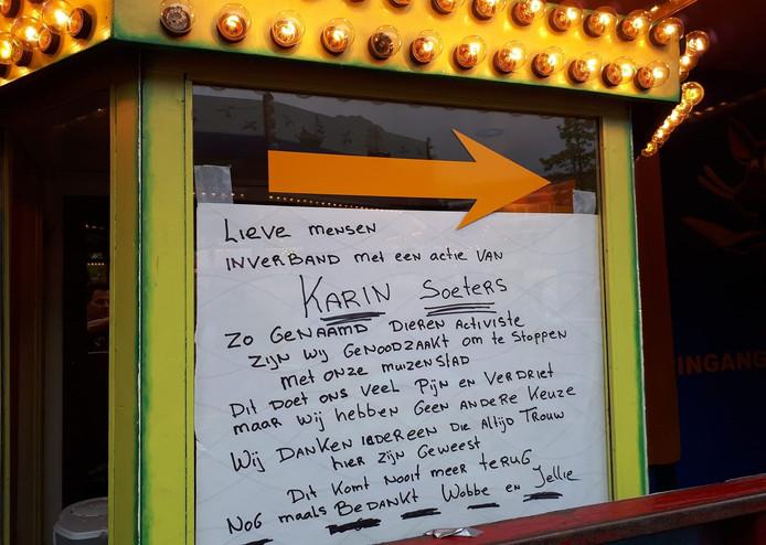 Muizenstad kondigt op de Tilburgse kermis sluiting aan wegens actie dierenrechtenactiviste