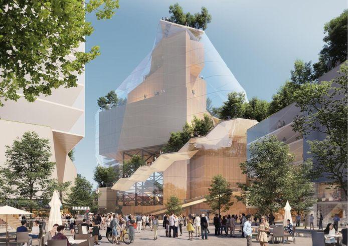 De muziekberg met de Effenaar bovenop het Muziekcentrum in een soort glazen stolp, gezien van het nieuw te creëren Genderplein, als onderdeel van de plannen voor de Heuvel. Graphic CBRE-MVRDR