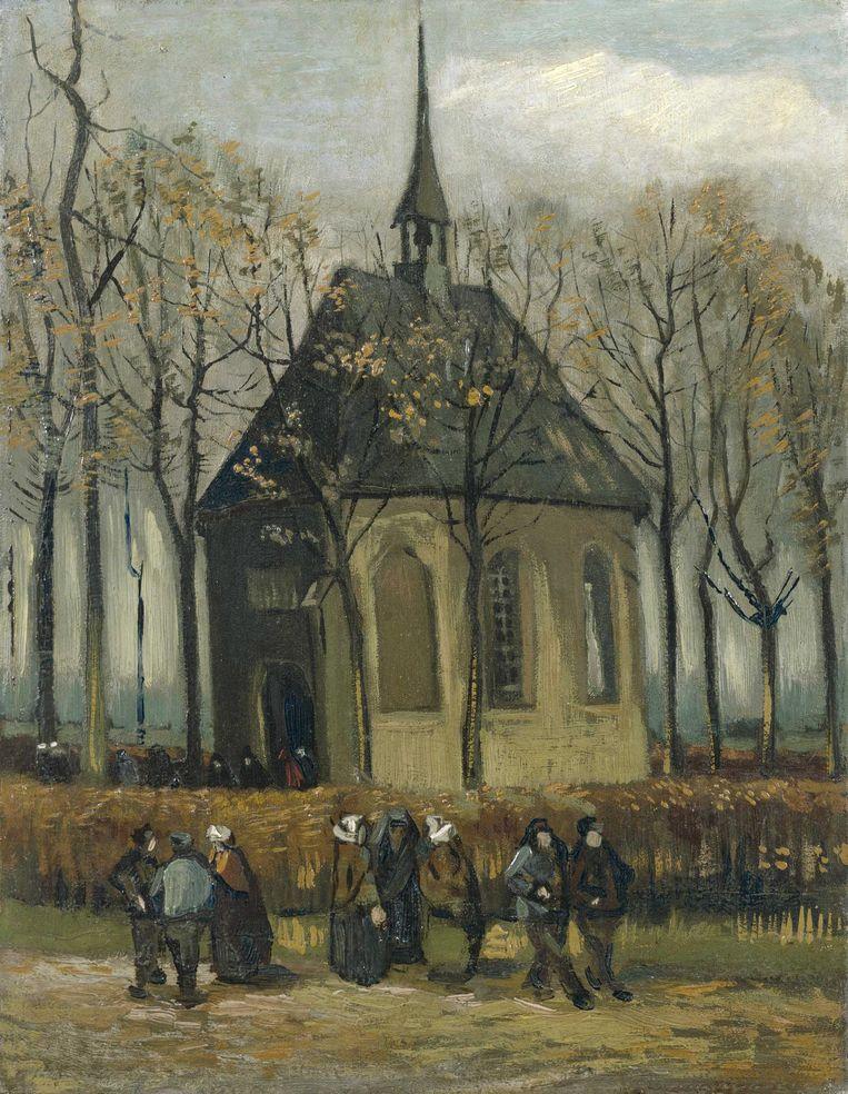 'Het uitgaan van de hervormde kerk te Nuenen' (1884-1885) door Van Gogh. Beeld EPA