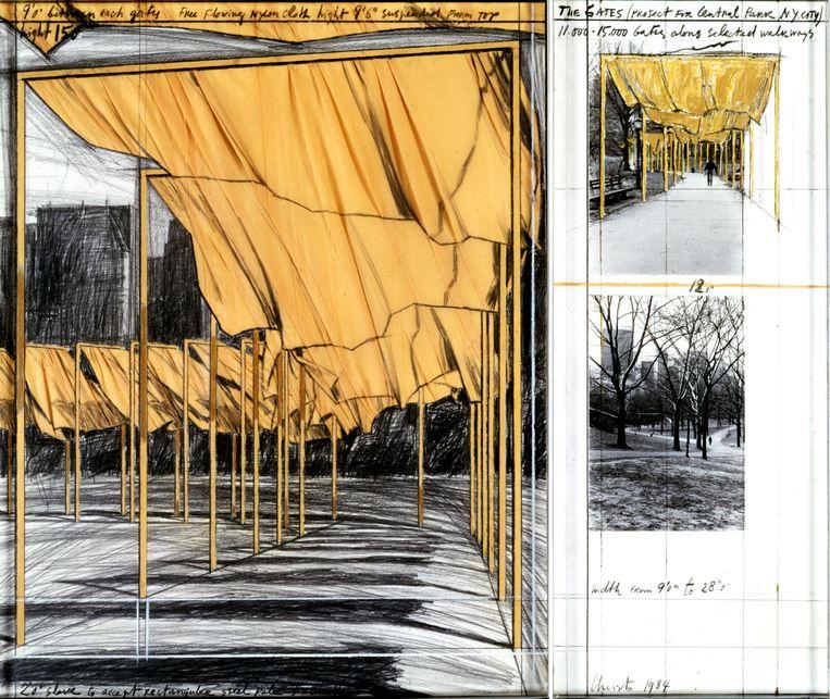 Voor het project 'The Gates' werden in 2005 meer dan 7.500 oranje poorten met doeken geïnstalleerd in Central Park, New York.  Beeld rv © Christo 1980