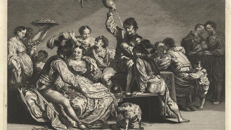 Bordeel, een gravure van Jeremias Falck Beeld Rijksmuseum