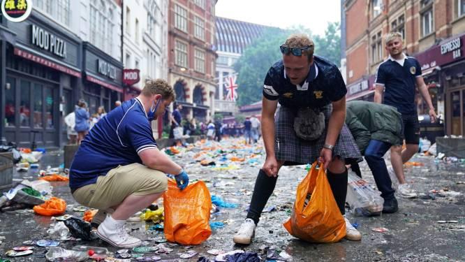 Schotse fans ruimen Londen op na uitbundig voetbalfeest