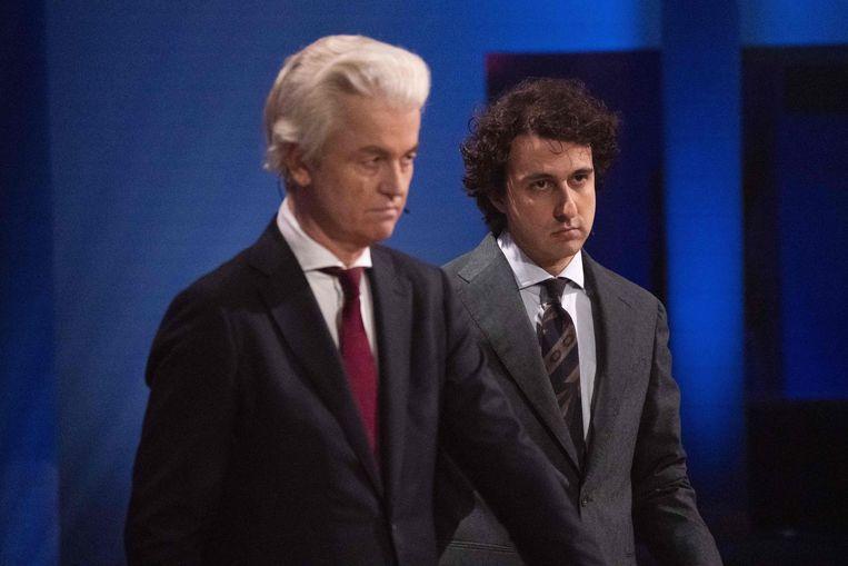 PVV-voorzitter Geert Wilders en Jesse Klaver van GroenLinks. Beeld AFP
