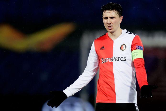 Steven Berghuis gisteravond tijdens Feyenoord - Dinamo Zagreb (0-2) in de Kuip.