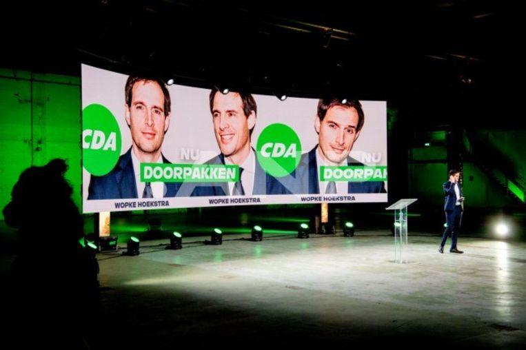 CDA-lijsttrekker Wopke Hoekstra tijdens het online CDA partijcongres.   Beeld ANP