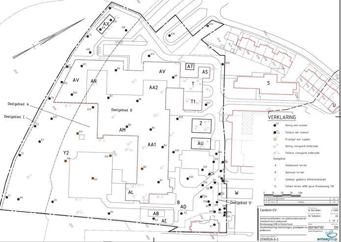 Bij de letters C en D op deze kaart is verontreiniging aangetroffen. Op deze locaties mogen geen woningen gebouwd worden.