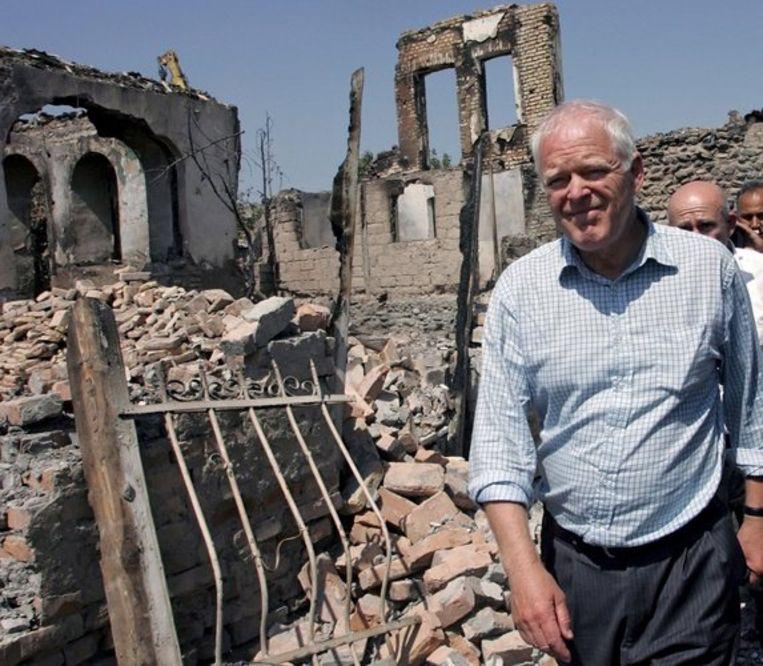 Commissaris mensenrechten Thomas Hammarberg van de Raad van Europa op bezoek in Zuid-Ossetië. Foto EPA Beeld