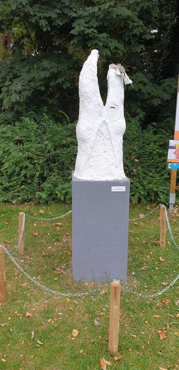 Het 'troostbeeld' werd voor een tweede keer het slachtoffer van vandalen.
