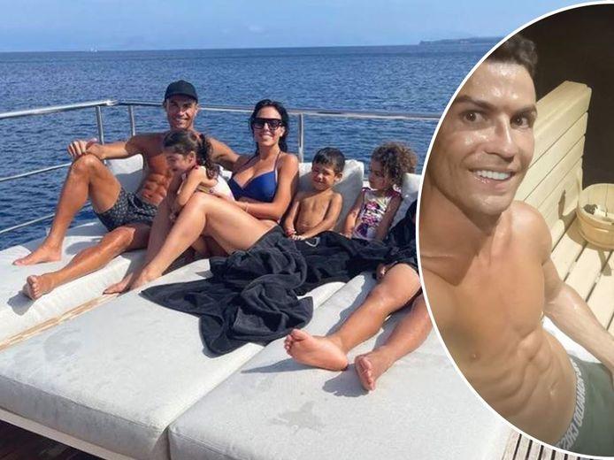 Gezinsgeluk op de 'Azimut Grande'. Cristiano en Georgina met de kroost, van l naar r: Eva, Mateo, Alana Martina en Cristiano junior. Rechts: CR7 in de sauna op de jacht.