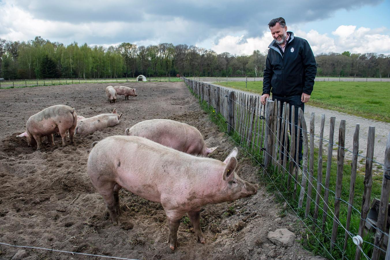 Nol van den Berg bij het verblijf van de varkens bij de Herenboeren in Alphen .
